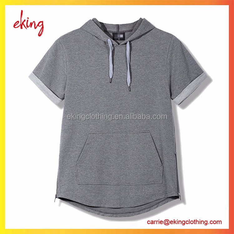 2017 best quality men short sleeve hoodies gym fitness longline wholesale blank t shirt hoodies