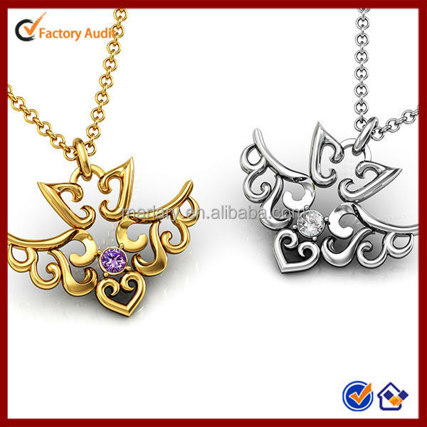 New Design Silvery And Gold Gemstone Pendant Angels Love Necklace Jewelry