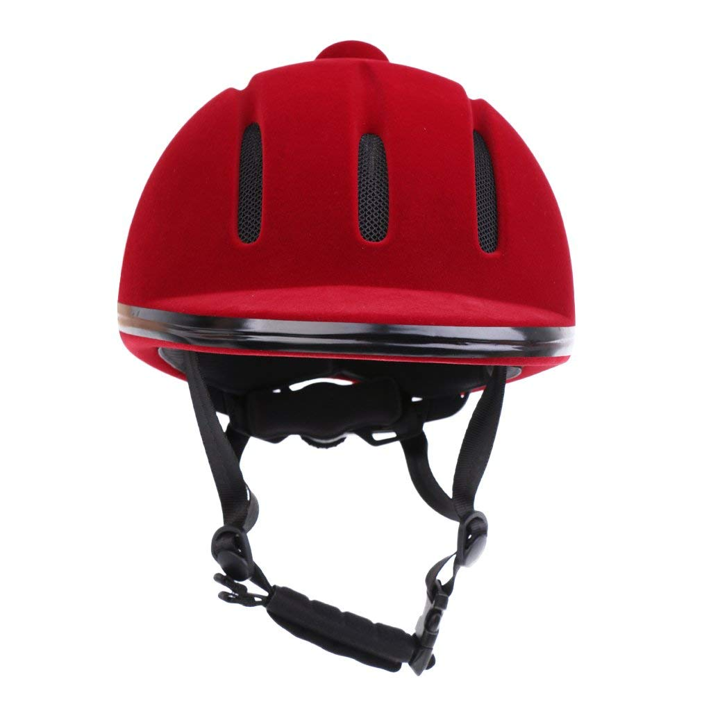 d0dcbb4b2fe36 Dovewill Adjustable Safety Horse Riding Hat Velvet Equestrian Helmet  Protective Riding Equipment - Red