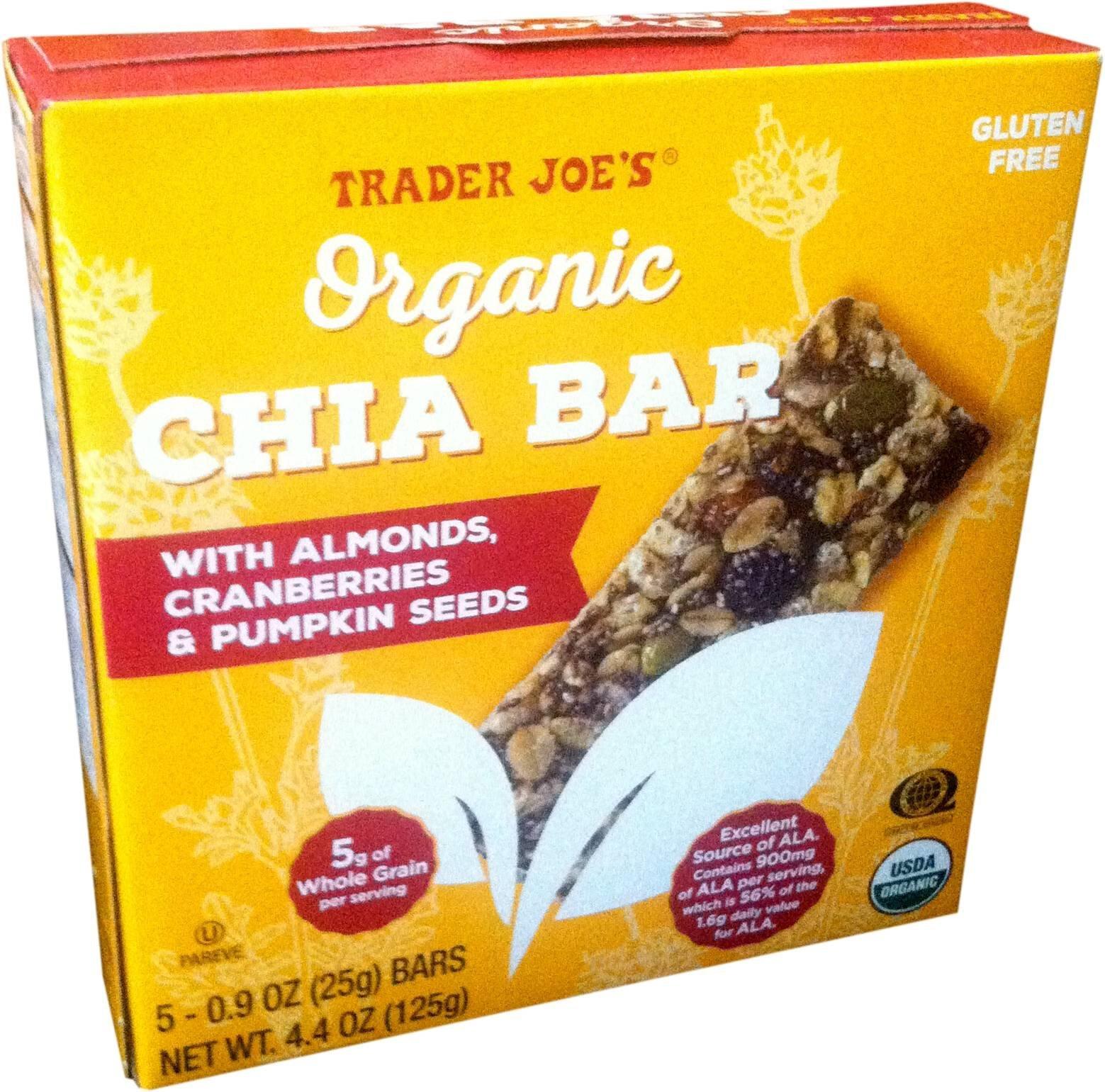 Trader Joe's Organic Chia Bars with Almonds, Cranberries, & Pumpkin Seeds, 5 Bars, Net Wt. 4.4 oz