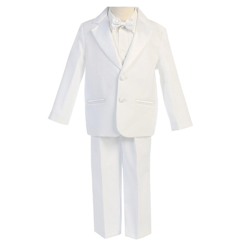 aebebc88de2 Get Quotations · Lito Little Boys White Satin-Faced Jacket Shirt Pants Vest  Bow-Tie Tuxedo 7