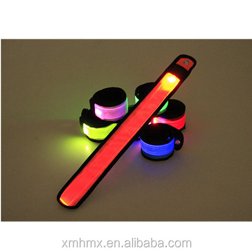 Wholesale Nylon Waterproof Reflective Cycling Led Slap Wristband Bracelets, Led Slap Bracelet for Night Running