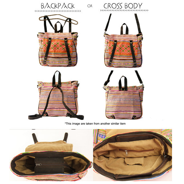 Finest New Multifunctional Embroidery Tribal Bag Linen Backpack Convert  AT93