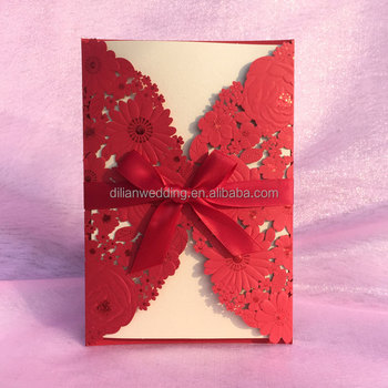 Nice embossing flower wedding invitations with ribbon bow buy nice embossing flower wedding invitations with ribbon bow stopboris
