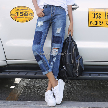 a8d5c05c1bd Ns1662 Hot Sale Women Fashion Ripped Jeans Sexy Baggy Jeans ...