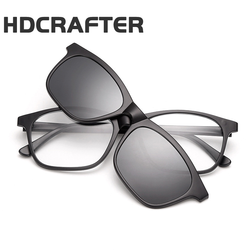 HDCRAFTER Fashion Square TR90 Removable Eyewear Frame Polarized Sunglasses Women/Men Clips Glasses Goggles