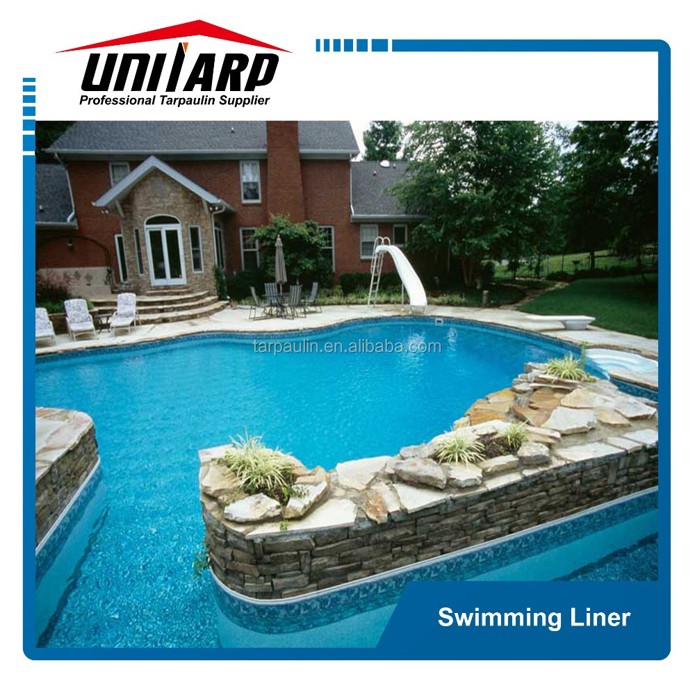 Vinyl Liner Pool With Rock Wall