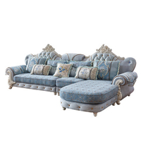 Antique Design Top Living Room Sofa European Design Navy Blue Fabric Sofa Set