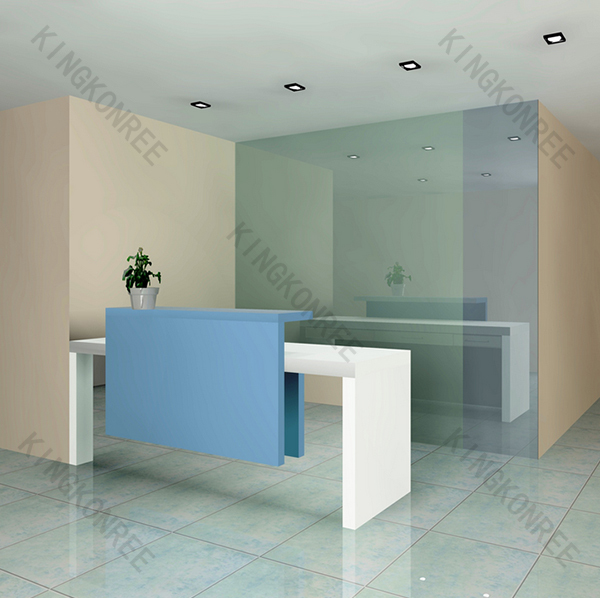 Recepcion oficina moderna extractor blanco mostrador mesas for Recepcion oficina moderna