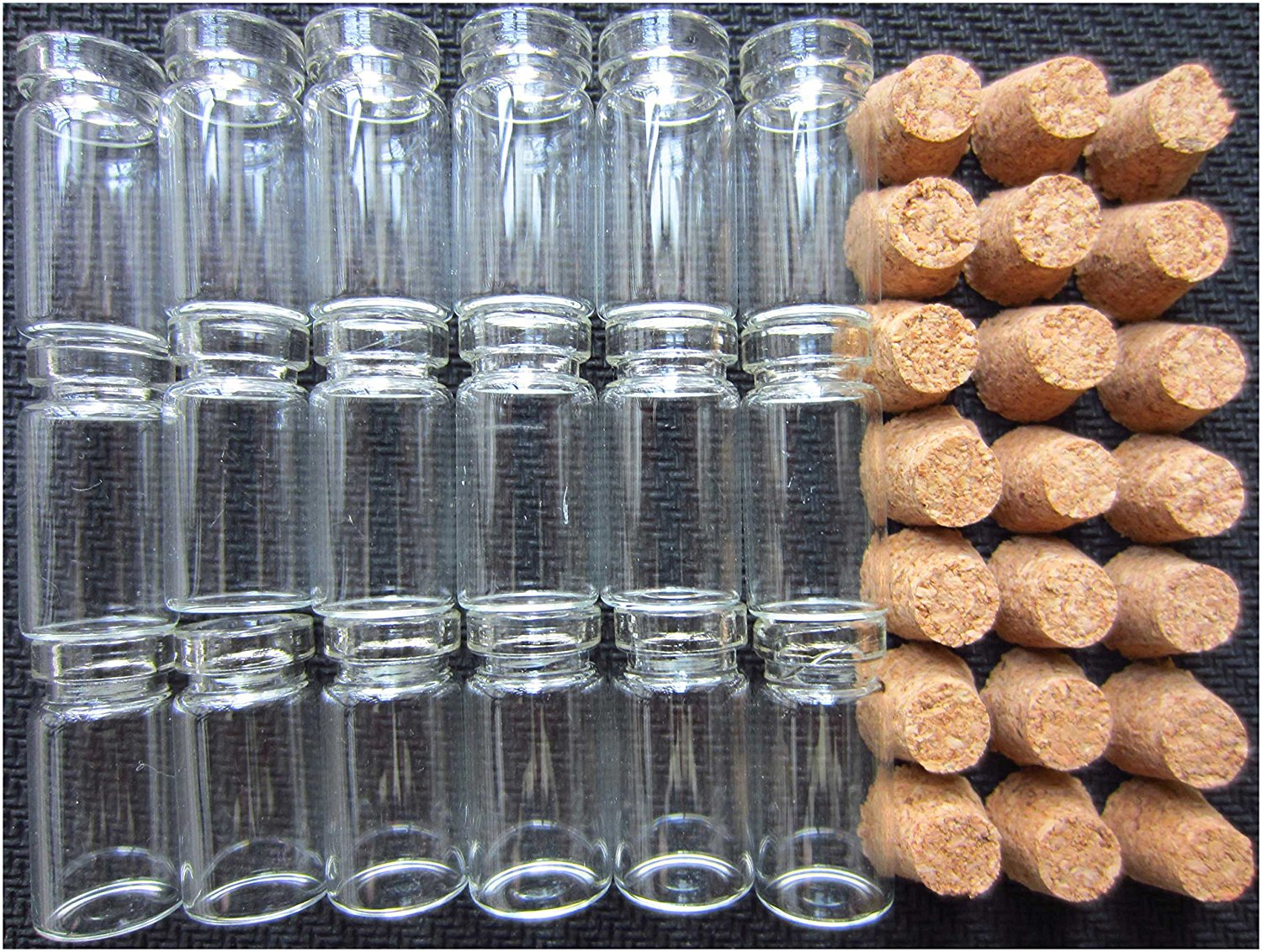 LeBeila 1ml Mini Glass Jars With Cork Stoppers Tiny Glass Bottles With Cork Lids For Messages, Wedding Wish, Jewelry, Party Favors, DIY, Arts & Crafts, Projects, Decoration (50pcs, 1 ml)