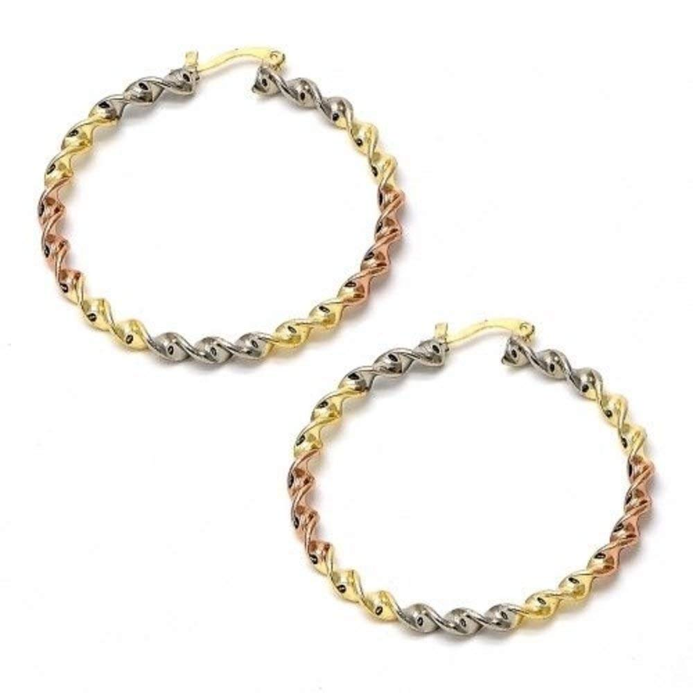 Designer 3 Tone Large Hoops Yellow Rose and White Gold Filled Round Skinny Hoop Earrings Tri-Color hoops (50mmx4mm)