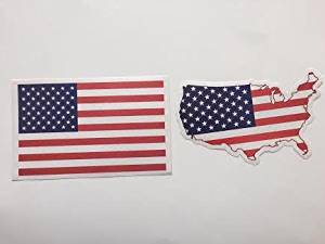 Sale American Flag (6.5 x 4.2 Inch) & USA Map-Flag (6x3.5 Inch) Bumper Sticker (2 American Flag + 2 USA Map-Flag). Total 4 Sticker