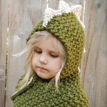 Handmade Children Knitted Cartoon Hat Dinosaur Monster Cap And Scarf