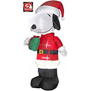 get quotations gemmy lighted snoopy in santa suit christmas inflatable 5 ft tall