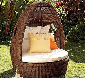 Unique egg shaped outdoor patio round sun bathing lounge furniture rattan garden canopy bed