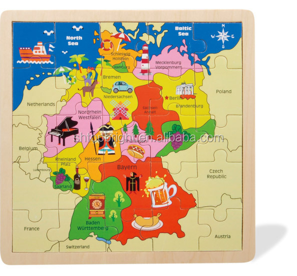 Hot Sale Germany Map Wooden Jigsaw Puzzle With Kinds Of Graphics – Map of Germany for Kids