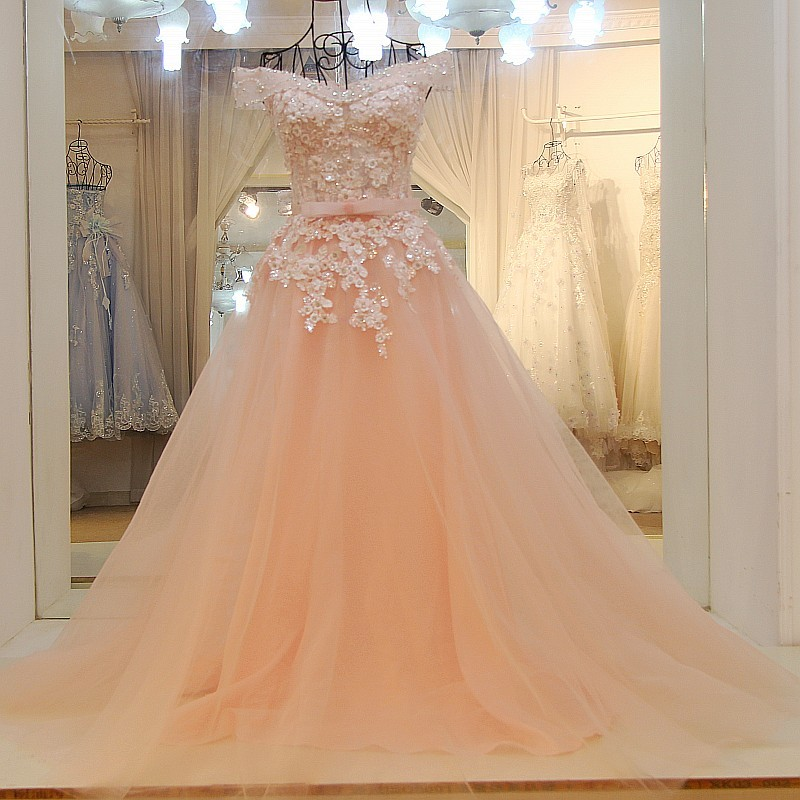Ls32990 Real Wholesale Fabric Long Cheap Prom Dressoff Shoulder With Belt Lace Train Bangkok