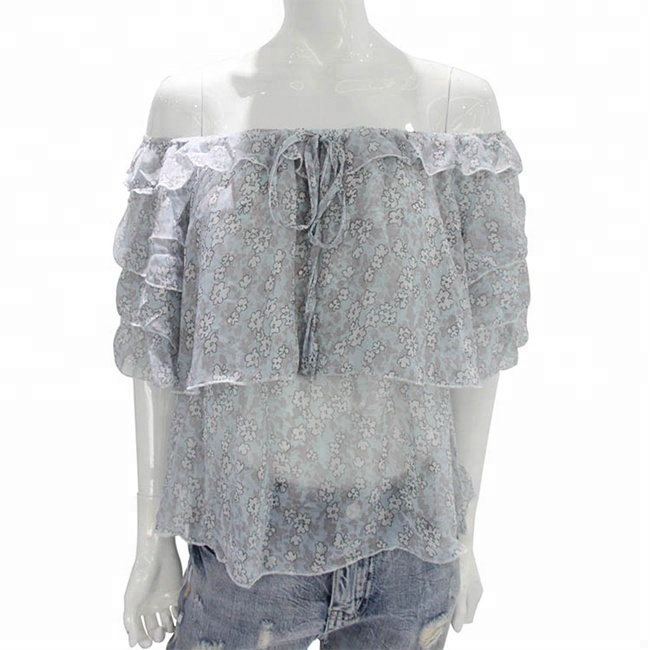 Blouses & Shirts 2018 Summer New Women Ruffled Sexy Long-sleeved Lace Chiffon Shirt Packing Of Nominated Brand