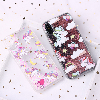 Glitter Liquid Unicorn Donuts Cartoon Case Coque Fundas Capa Para For iPhone 7 7Plus 6 6S 6Plus 5 SE 8 8Plus X