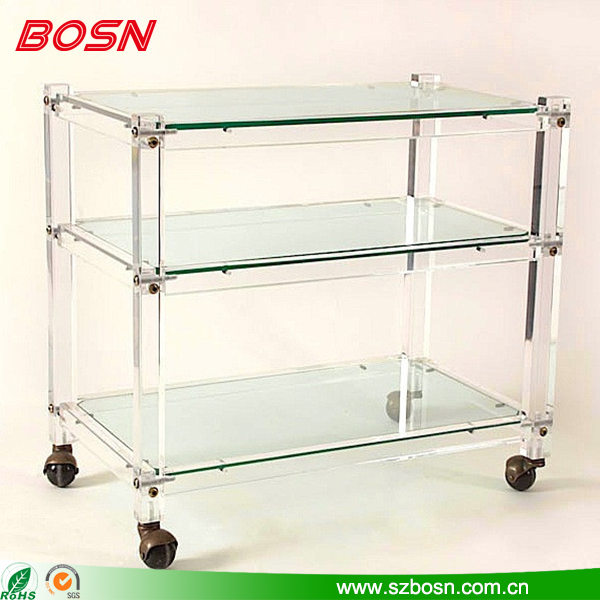 Acrylic platform hotel trolleys Folding four-wheel hand carts Modern hand trolleys Home serving cart