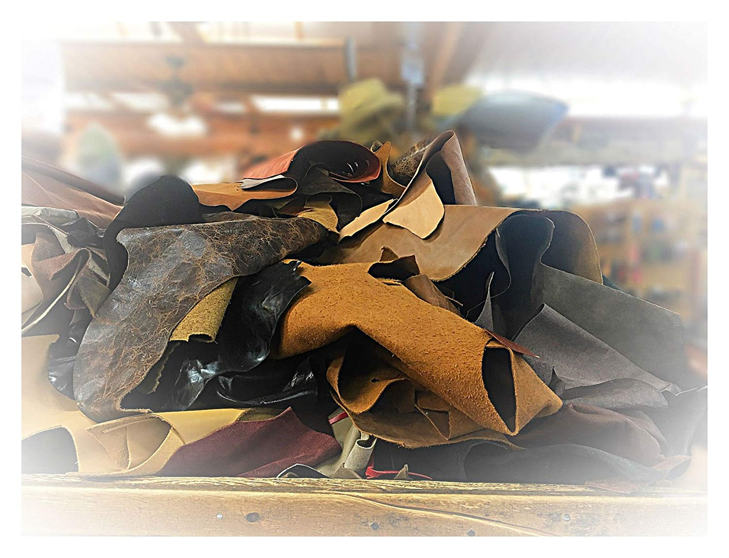 1 Pound of Upholstery Scrap Cowhide Leather, Mixed Weights and Colors
