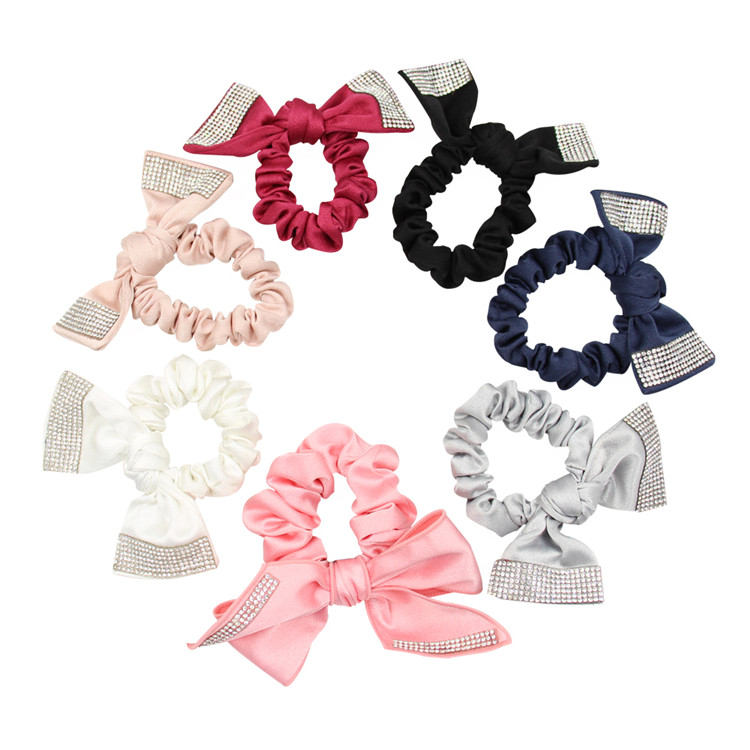 Wholesale Factory Direct Sale Rhinestone Ponytail Holder Bunny Custom Design Elastic Bands Hair Ties Colorful Scrunchies