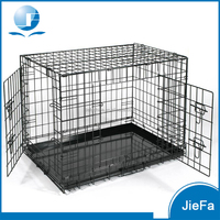 2 door kennel includes rust resistant wire top handle for mobility leak-proof removable pan easy cleaning perfect home dog crate
