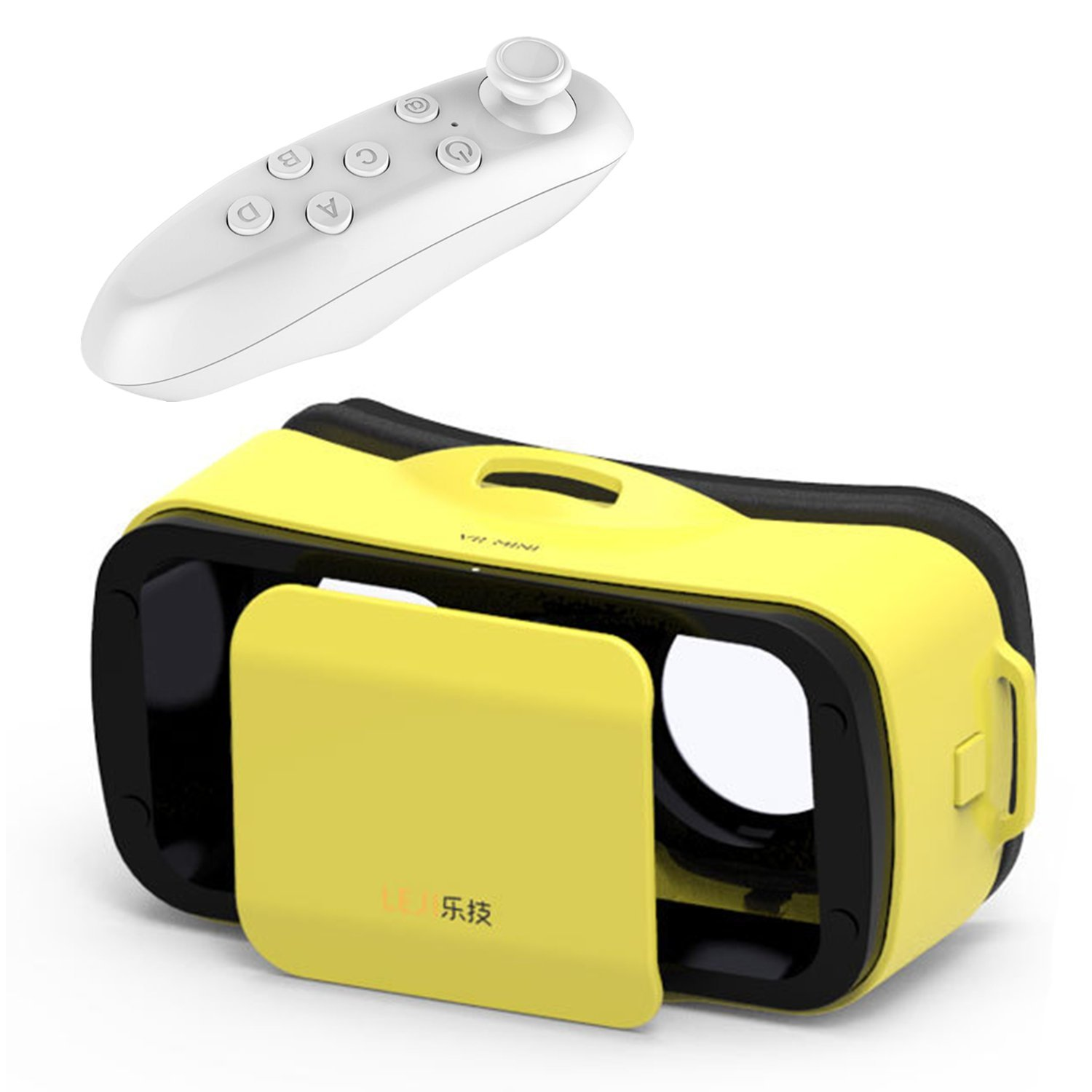 "Mini 3D VR Glasses/Headset, Tsanglight Virtual Reality Headset + Remote Controller for IOS iPhone 7/6/6S Plus, Android Samsung Galaxy S7 Edge S7/6 /J7/A5/A3 2016 & Other 4.5""-5.5"" Cellphone-Yellow"