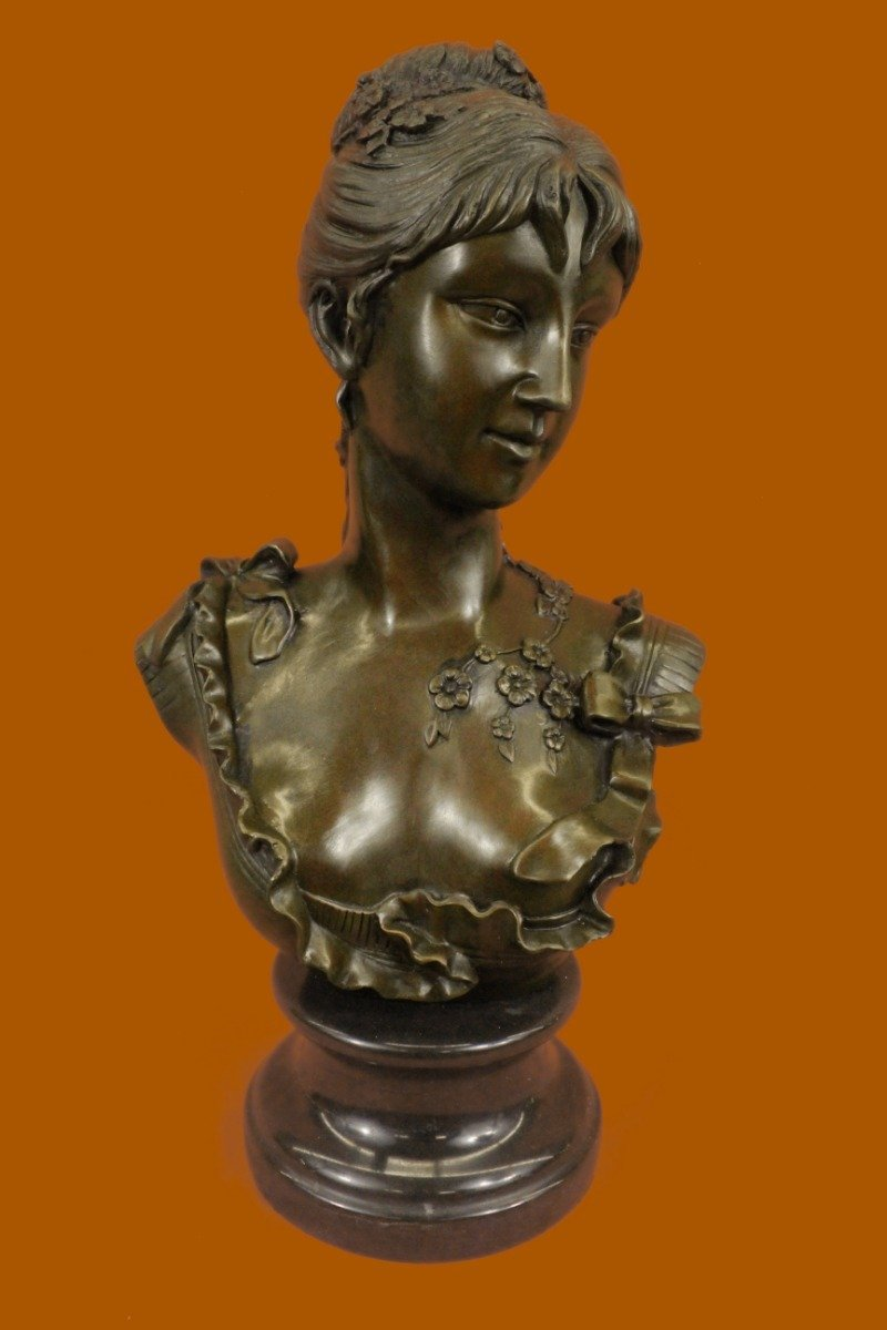 "...Handmade...European Bronze Sculpture Elegant Signed Marble Nude Female Bust 17"" Figuine (DS-267-UK) Bronze Sculpture Statues Figurine Nude Office & Home Décor Collectibles Sale Deal Gifts"