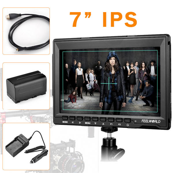 FEELWORLD FW-759 7'' SlimVideo Monitor on camera HD IPS 1280x800 1080p with Sunshade FW759 for BMPCC BMCC 6600mAh battery i