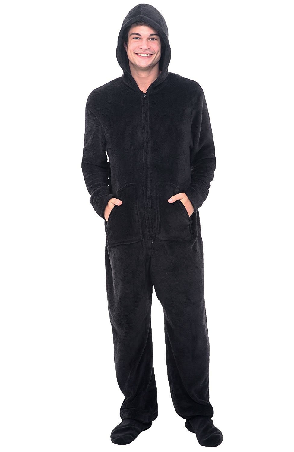 81d4b187a2 ... Adult Hooded Non Footed Jumpsuit PJS Sleepwear. null. null. Get  Quotations · Alexander Del Rossa Mens Fleece Onesie
