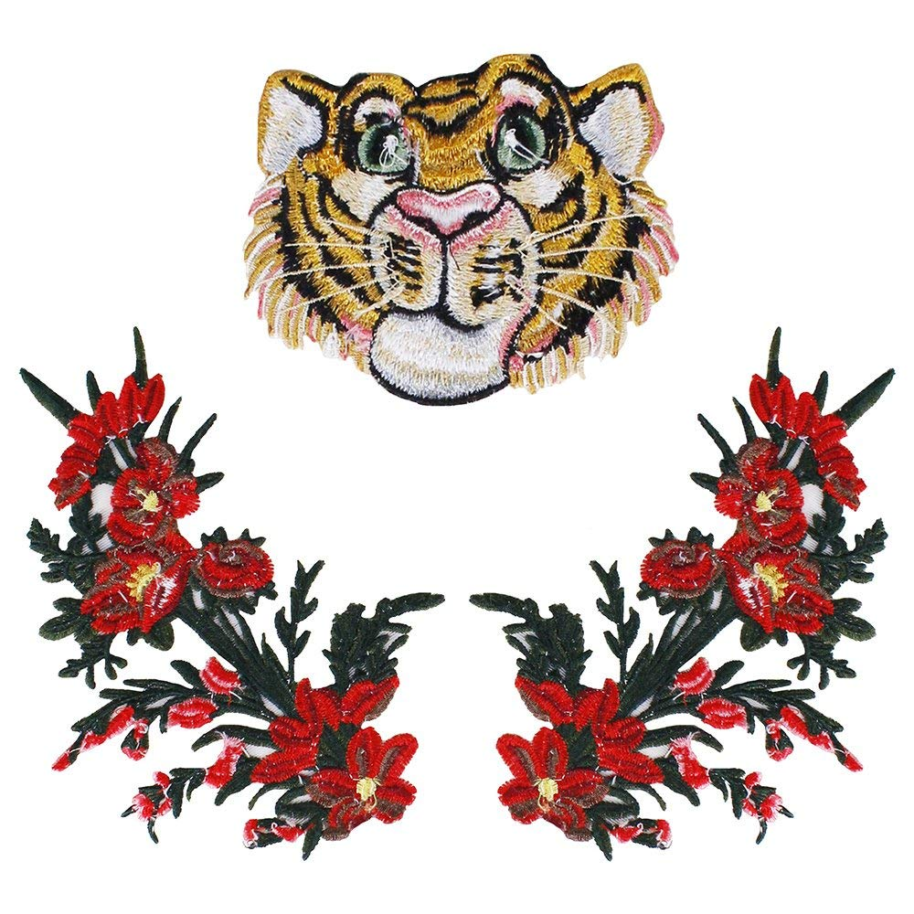 1set/3pc Fashion Cool Tiger Snake Yellow Flowers Tiger Head Patch Embroidery Applique Badge Clothes DIY Sew on Jacket T-shirt Apparel Accessories TH1043 (1045)