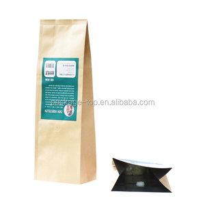 Plastic laminated kraft food paper bag for cookies/coffee/chocolate/tea/chips , customize kraft paper bag rolls