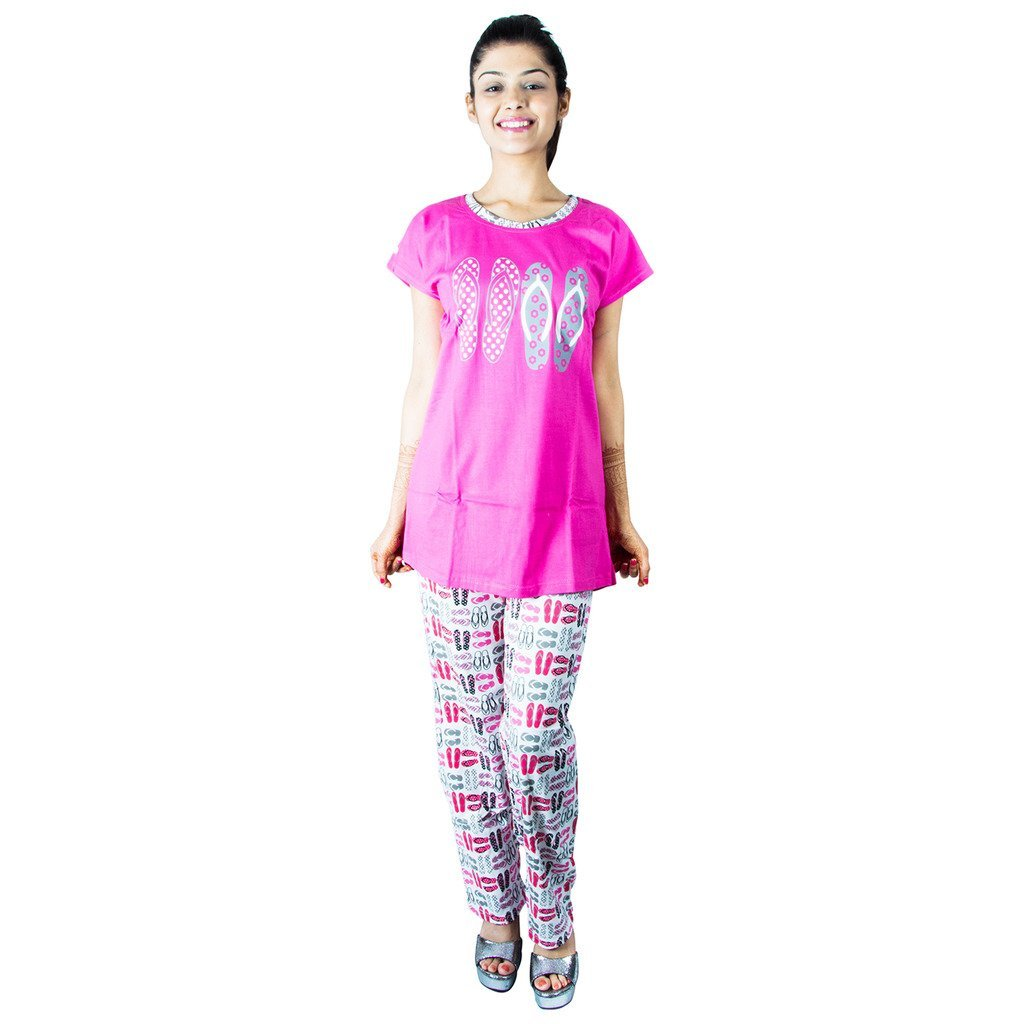 Elevanto Hoiser Cotton Printed Pink Merger Night Suit