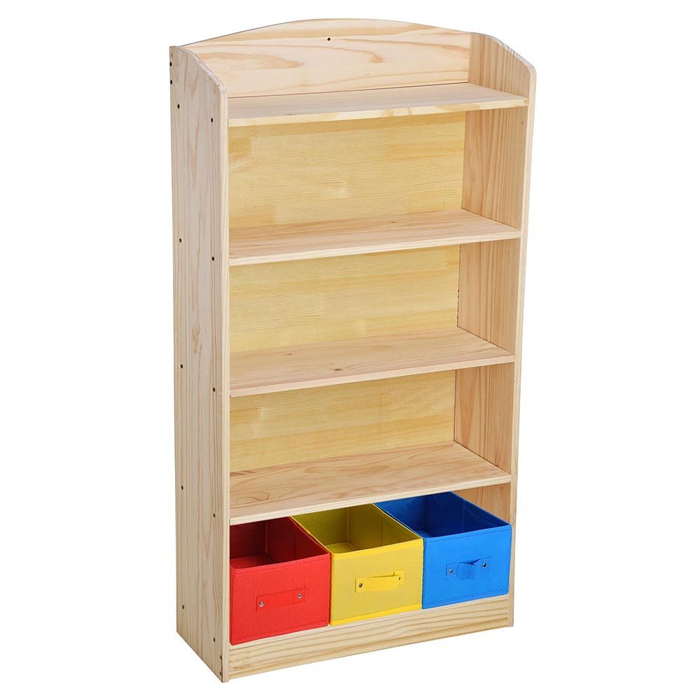 Get Quotations Eight24hours 5 Shelf Wood Bookcase Storage Shelving Book Wide Bookshelf 3 Bins Home Furniture