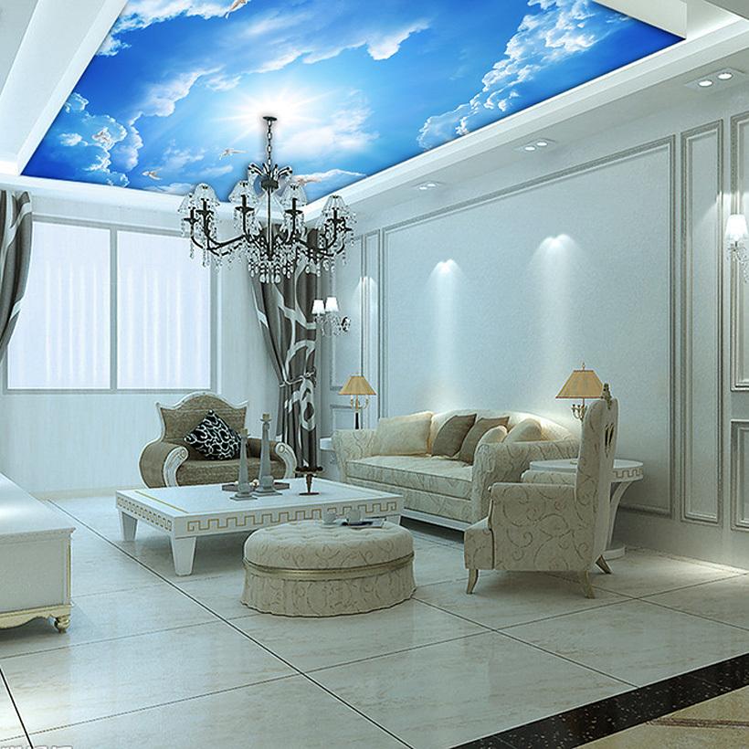 Custom Murals, 3d Blue Sky Ceiling Wallpaper Mural Wall