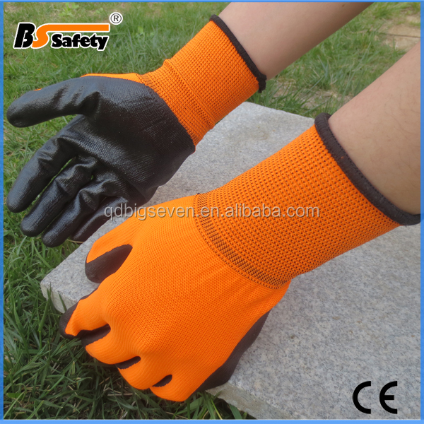 BSSAFETY 13G nylon liner orange working gloves nitrile safety glove