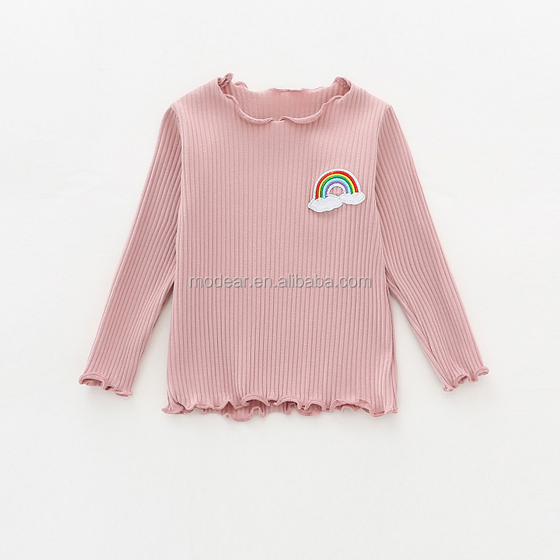 Girls exquisite Bottoming shirt ruffle striped cute pattern long sleeve clothes baby girls t-shirt