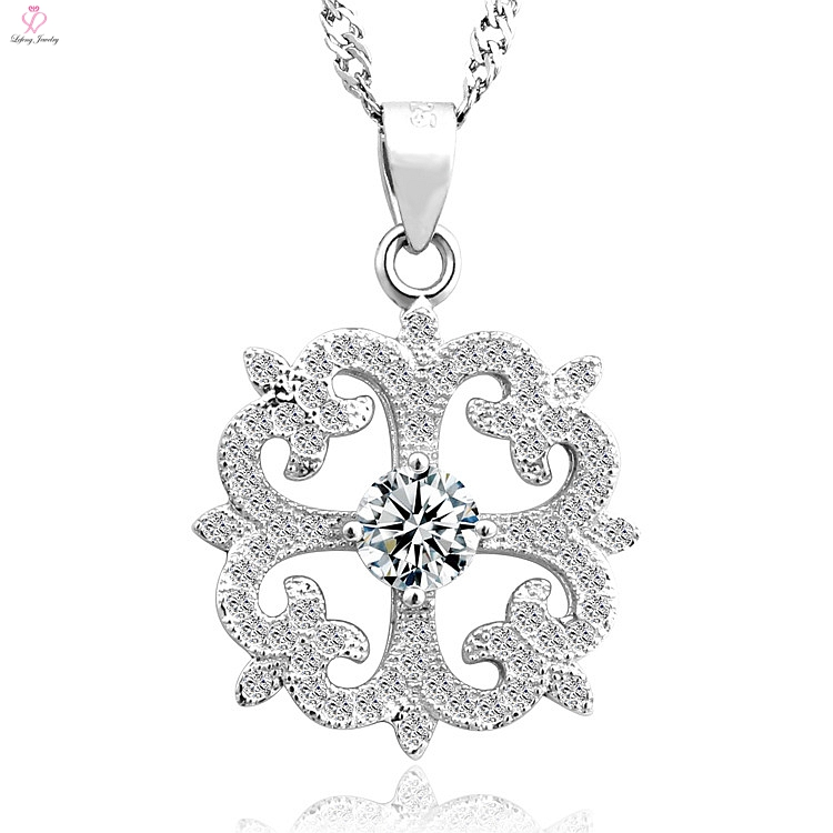 Hot search silver flower shape silver pendant jewelery with cz