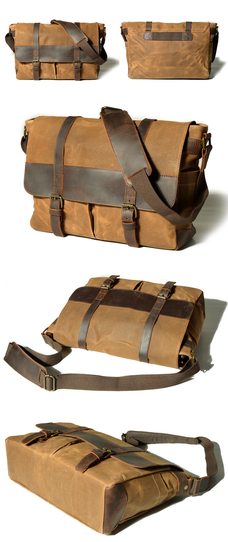 The latest popular vintage design waterproof waxed canvas unisex messenger bag briefcase digital gear camera bags