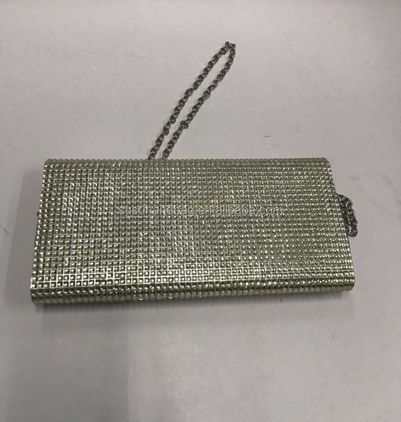 Clutch Shoulder Style Long Chain Crystal Evening Bags