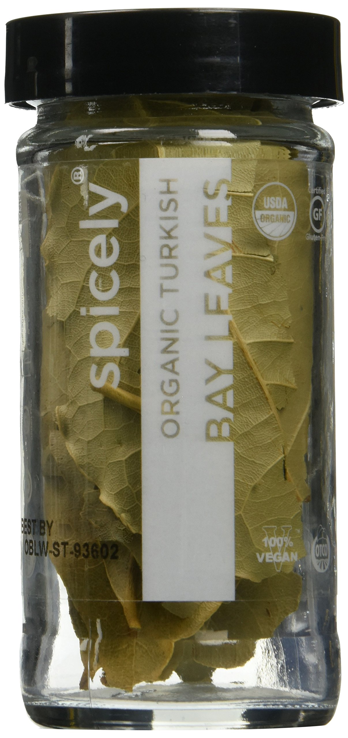 Spicely Organic Bay Leaves Turkish Whole 0.09 Ounce Jar Certified Gluten Free