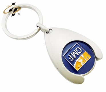 custom deisgn Iron material two sizes trolley euro token keychain