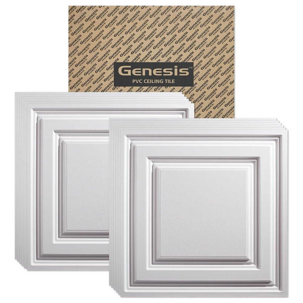 Cheap acoustic ceiling tiles find acoustic ceiling tiles deals on get quotations genesis icon relief white 2x2 ceiling tiles 3 mm thick carton of 12 dailygadgetfo Choice Image