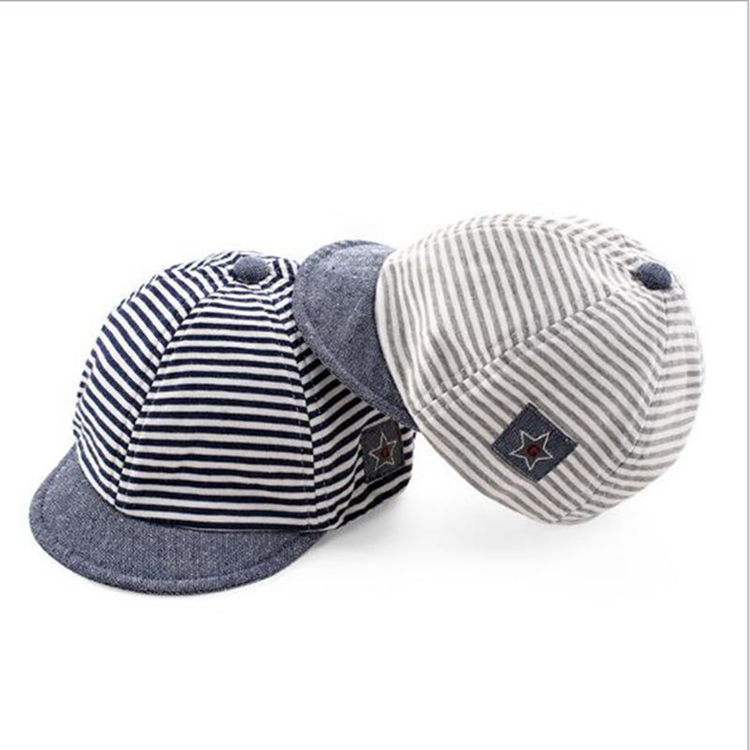 0989f10319da6 Summer Autumn Cotton Baby Hats Cute Casual Striped Soft Eaves Baseball Cap  Baby Boy Beret Baby
