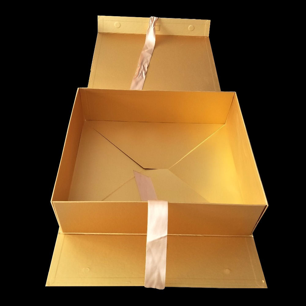 Personalizado de luxo brilhante Glitter dourado Fita Da Cor do Ouro de Alta Qualidade Retangular Dobrável Caixa de Presente de Papelão
