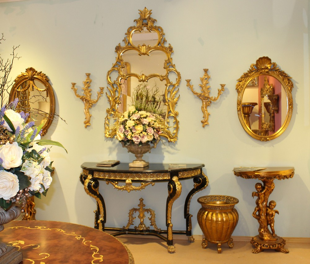 Egyptian reproduction furniture black and gold console for for Skilled craft worker makes furniture art etc