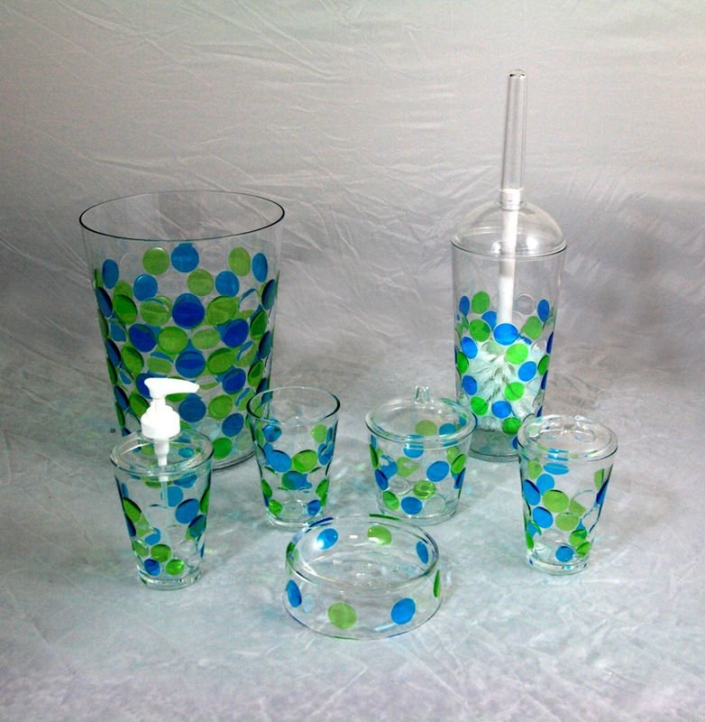 Acrylic Green Round Dots Bathroom Accessories Sets Buy Dots