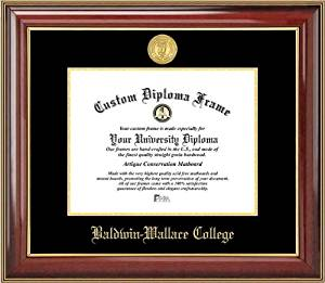 Baldwin Wallace College Yellow Jackets - Gold Medallion - Mahogany Gold Trim - Diploma Frame