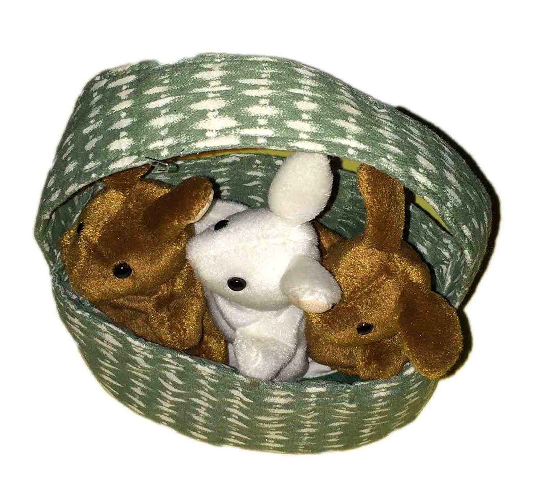 Folkmanis Rabbits in Basket Puppy